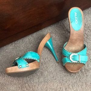 Teal +wood heels with gold buckle barely worn!